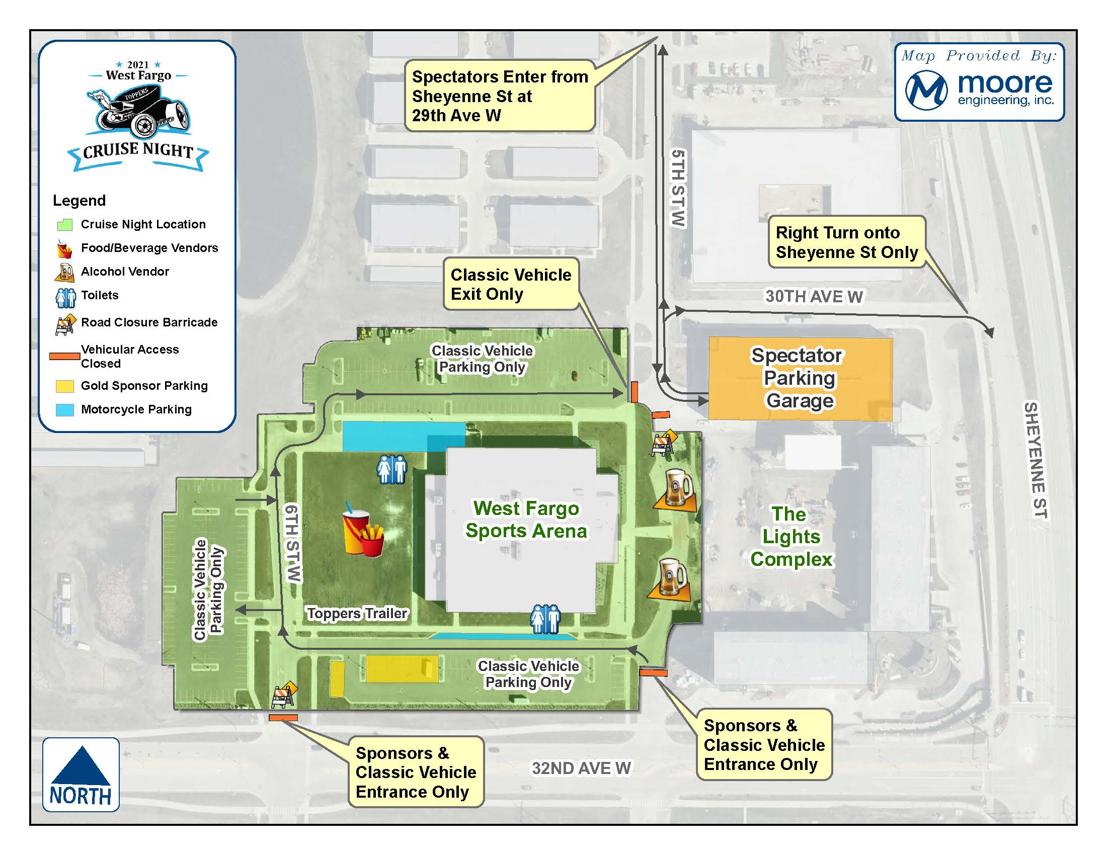 West Fargo Cruise Night Map