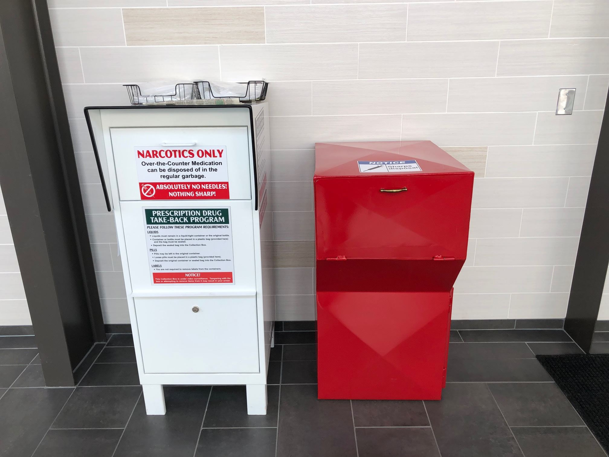 Medication and sharps disposal boxes are now located in the lobby of the West Fargo Police Department.